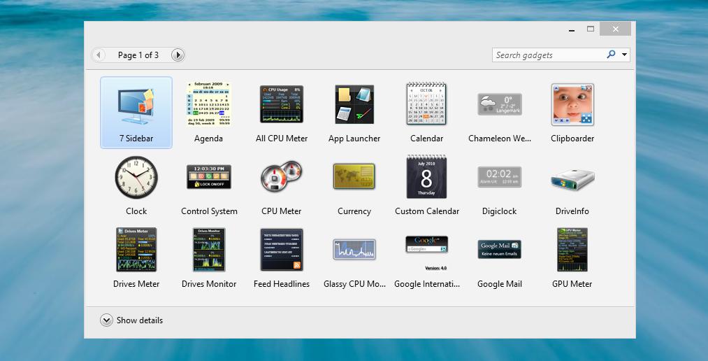 استخدام اضافات الديسك توب في ويندوز 8 – Use gadgets in Windows 8