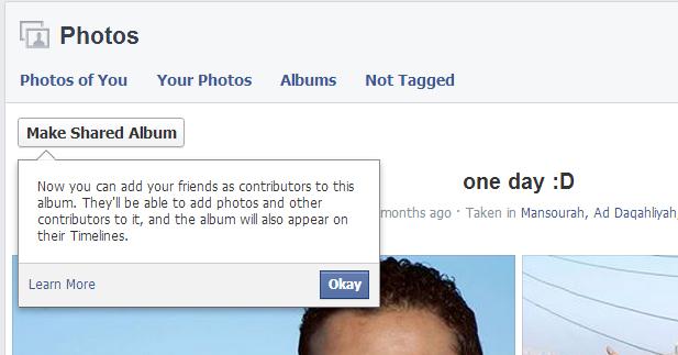 انشاء البوم علي فيسبوك يسمح لأصدقائك رفع الصور عليه