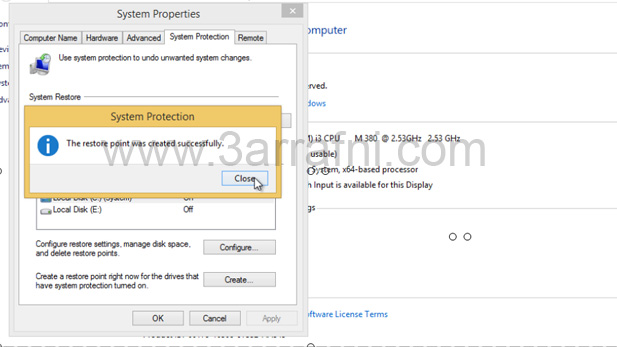 انشاء نقطه استعاده نظام في windows 8 و windows 8.1