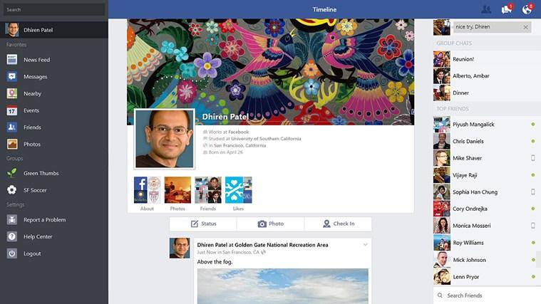 أخيرا تطبيق Facebook app لنظام تشغيل windows 8.1
