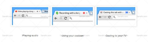 متصفح جوجل كروم الجديد يخبرك اذ كان اي موقع يستخدم كاميرا جهازك او يصدر منها صوت وغيرها
