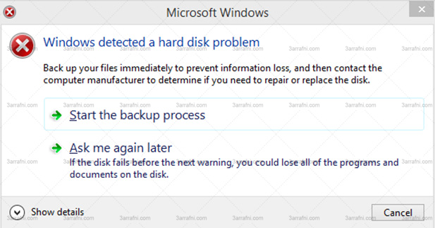 Windows has detected a hard disk problem