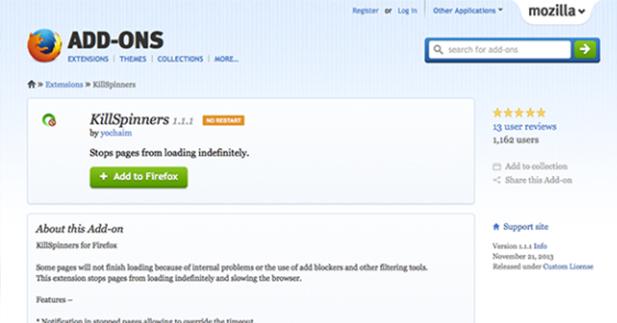 """إضافة """" KillSpinners """" لتسريع متصفح الأنترنت الفايرفوكس"""