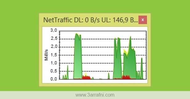برنامج NetTraffic لمراقبة سرعة الإتصال وحجم إستهلاك الأنترنت في الويندوز