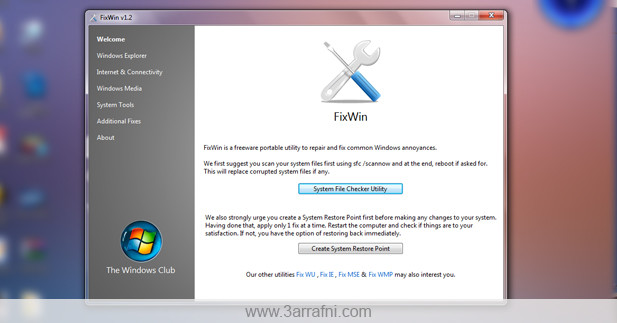 اصلاح مشاكل ويندوز 7 بضغطه زر واحده – Fixwin