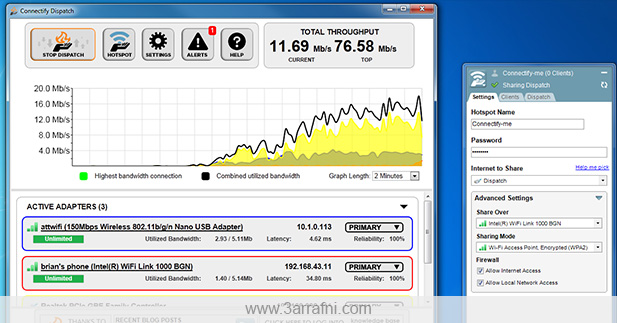 دمج أكثر من خط أنترنت للتمتع بسرعه أنترنت عاليه – Connectify Dispatch