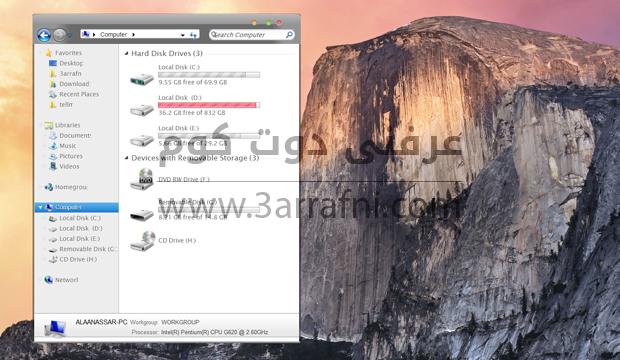 استخدام واجه ماك الجديده OSX Yosemite علي نظام windows (7)