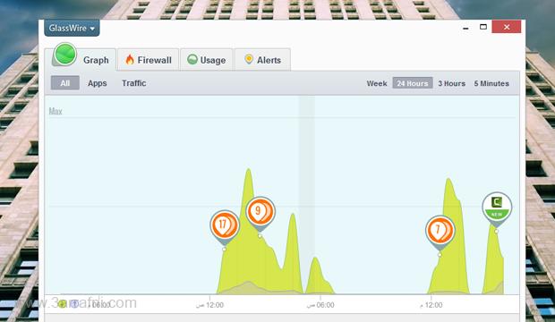 GlassWire افضل برنامج لمراقبه استهلاك الأنترنت في جهازك ومعرفه اكثر برامج استهلاك للانترنت