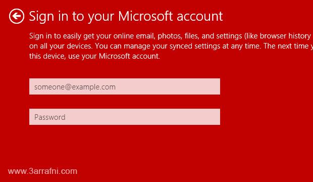ايقاف طلب تسجيل الدخول بحساب Microsoft Account لاستخدام تطبيقات windows 8.1