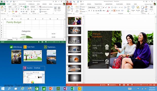 خاصيه العرض Snap View في windows 10