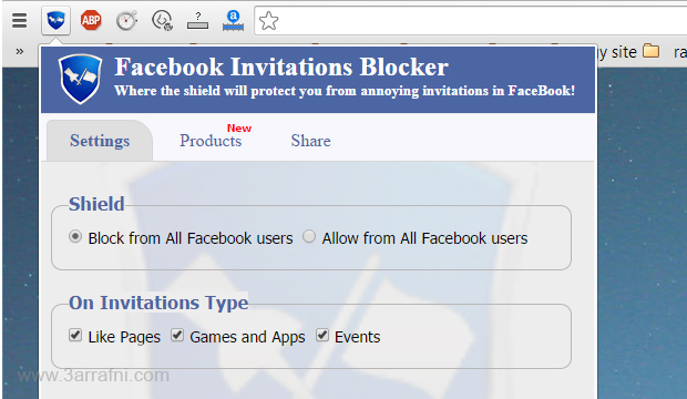 منع طلبات ودعوات العاب او الاعجاب بالصفحات او المناسبات علي الفيسبوك في جوجل كروم