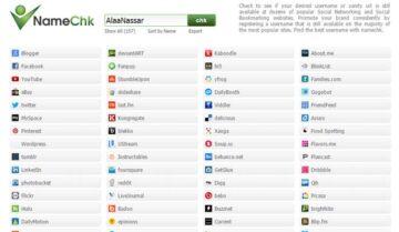 موقع namechk لفحص توافر اسم حساب علي جميع المواقع الاجتماعية