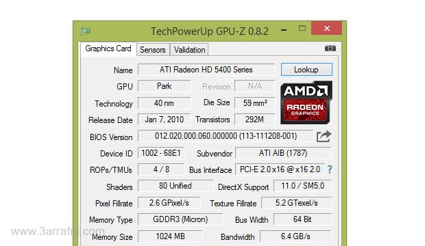 برنامج TechPowerUp GPU-Z لمعرفة مواصفات كارت الشاشة الخاص بك بالتفصيل