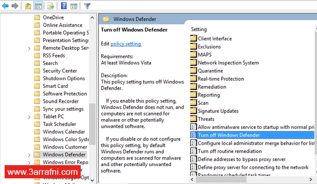 الغاء تفعيل One Drive و Cortana و Action Centre و Windows Defender فى ويندوز 10 (2)
