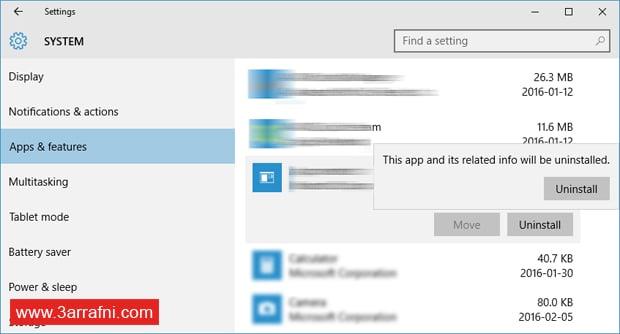 حذف التطبيقات في ويندوز 10