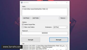 اداة AESxWin لتشفير وانشاء باسورد للملفات بسهولة