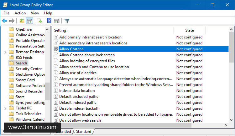 Disable Cortana in Windows 10