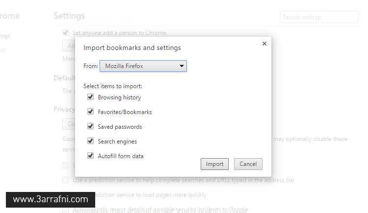 Import Bookmarks