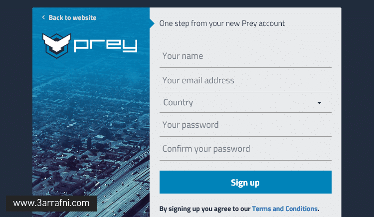 sign up Prey