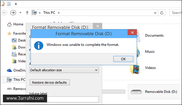 windows unable to complete format