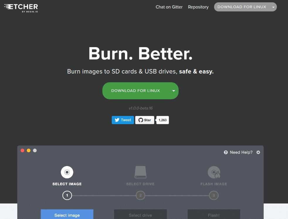 برنامج Etcher لحرق الملفات على USB