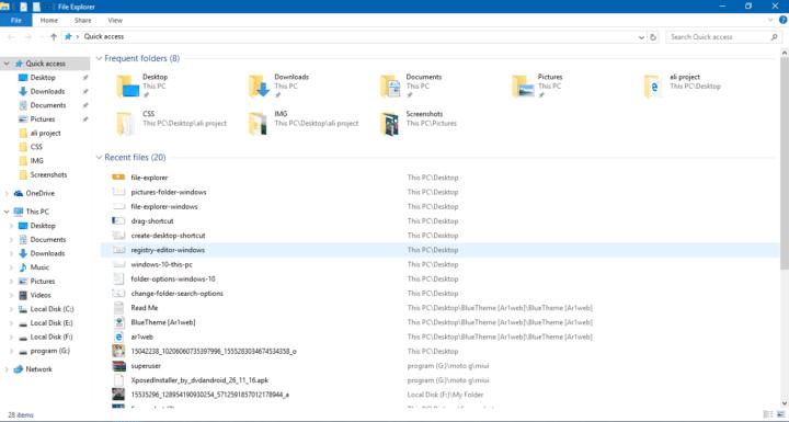 طريقة تغير المجلد الإفتراضى فى مستكشف الملفات فى ويندوز 10 Windows 1