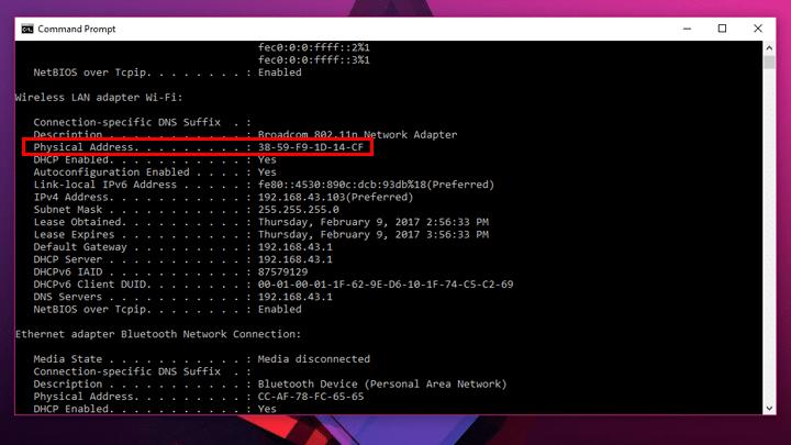 كيف تعرف عنوان MAC الخاص بجهازك علي ويندوز 10 2