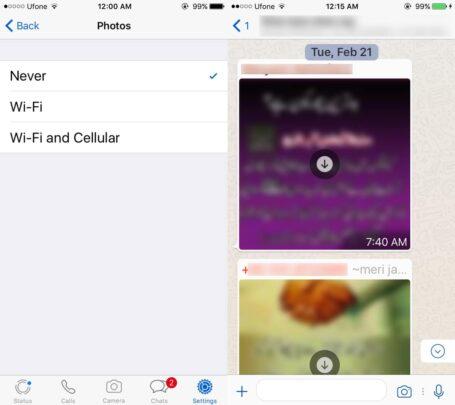 كيفية إيقاف التحميل التلقائي للصور و الفيديو المستلم في الواتس اب 3