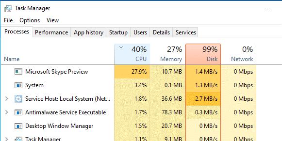 إصلاح مشكلة إستخدام 100٪ من القرص في نظام التشغيل Windows 10 3