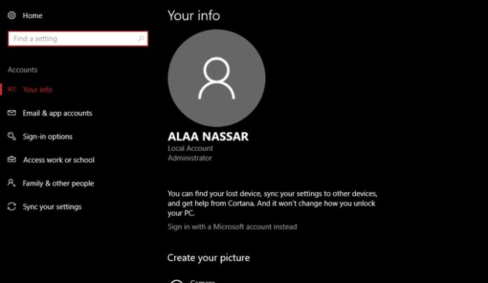 تسجيل الدخول الي ويندوز 10 بدون الحاجه الي حساب مايكروسوفت 2