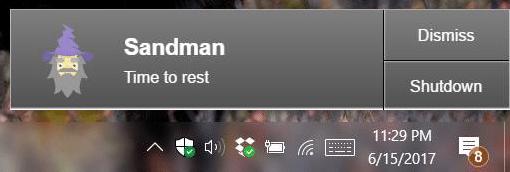 تطبيق Sandman لتنبيهك بوقت النوم المفضل لك لويندوز 3