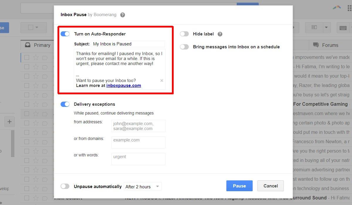 كيفية إيقاف تلقي رسائل الـ Gmail مؤقتاً مع الميزة الجديدة لـ Boomerang 3
