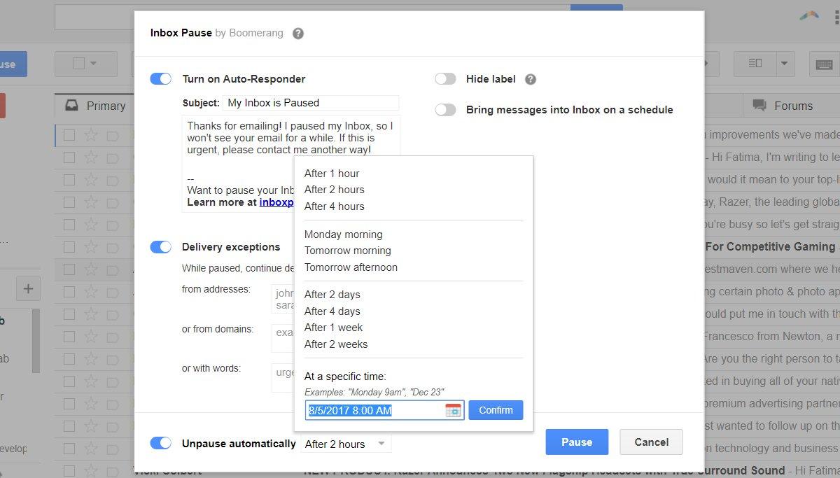 كيفية إيقاف تلقي رسائل الـ Gmail مؤقتاً مع الميزة الجديدة لـ Boomerang 2
