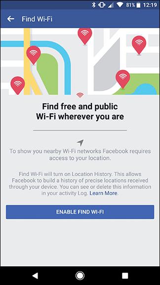 كيفية إيجاد شبكات الواي فاي Wi-Fi بإستخدام تطبيق الفيس بوك على الهاتف 6