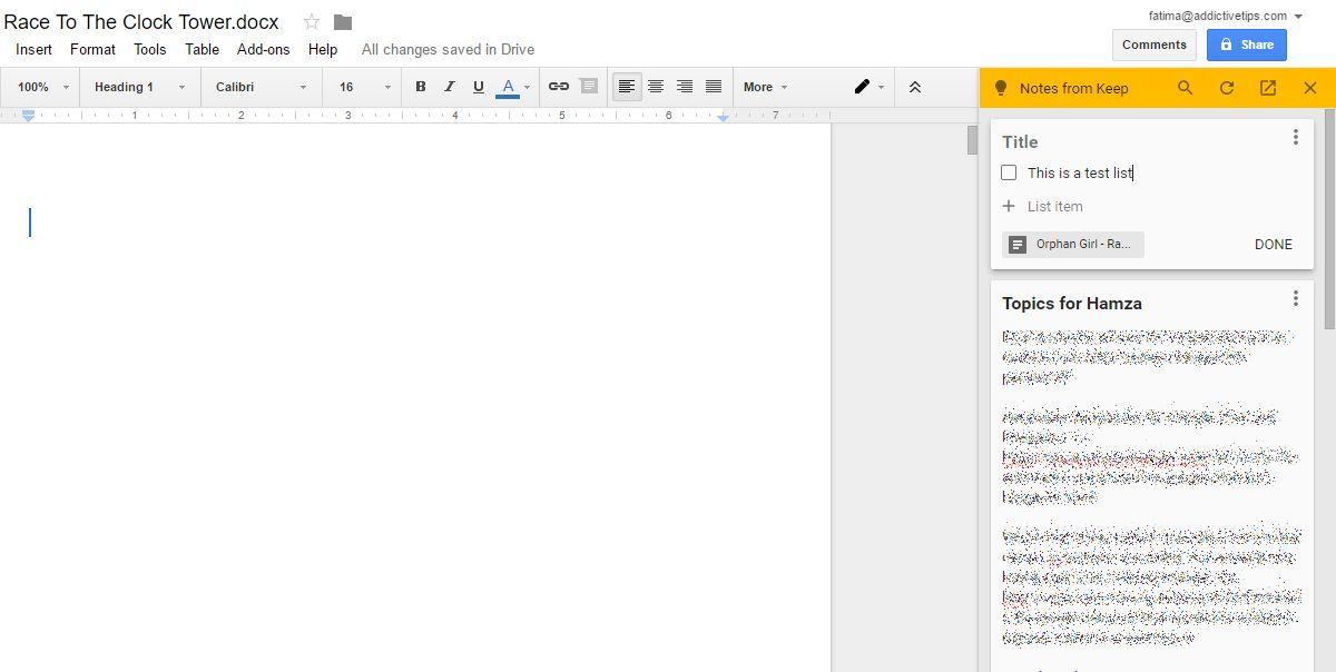 طريقة رفع الملحوظات من تطبيق Google Keep إلى Google Docs. 3