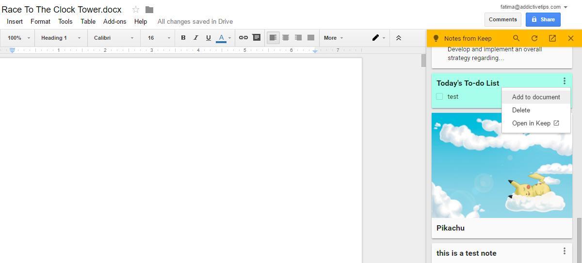 طريقة رفع الملحوظات من تطبيق Google Keep إلى Google Docs. 2
