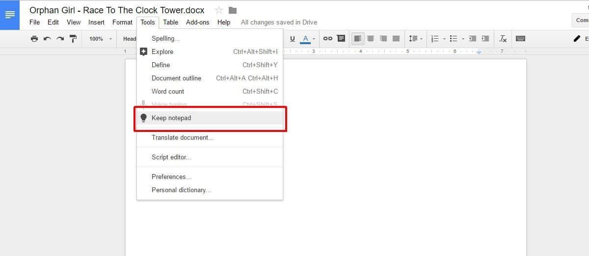 طريقة رفع الملحوظات من تطبيق Google Keep إلى Google Docs. 1