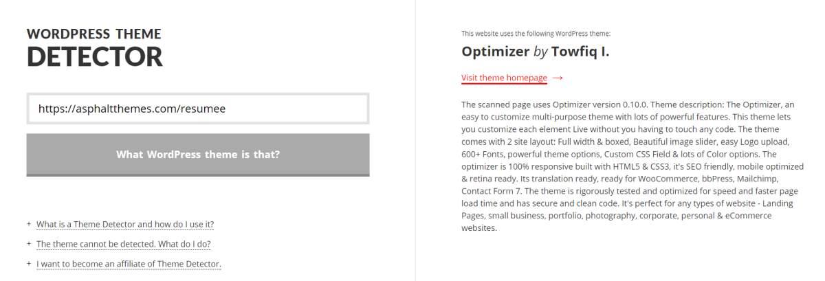 كيفية إيجاد تصميم الورد بريس WordPress الذي يستخدمة موقع معين 2
