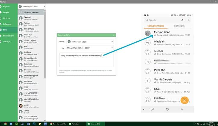 كيفية إرسال الرسائل SMS و الملفات من الكمبيوتر بإستخدام تطبيق Pushbullet 3