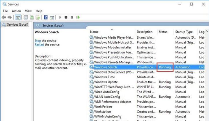 كيفية حل مشكلة توقف شريط البحث Windows Search في ويندوز 10 عن العمل 7