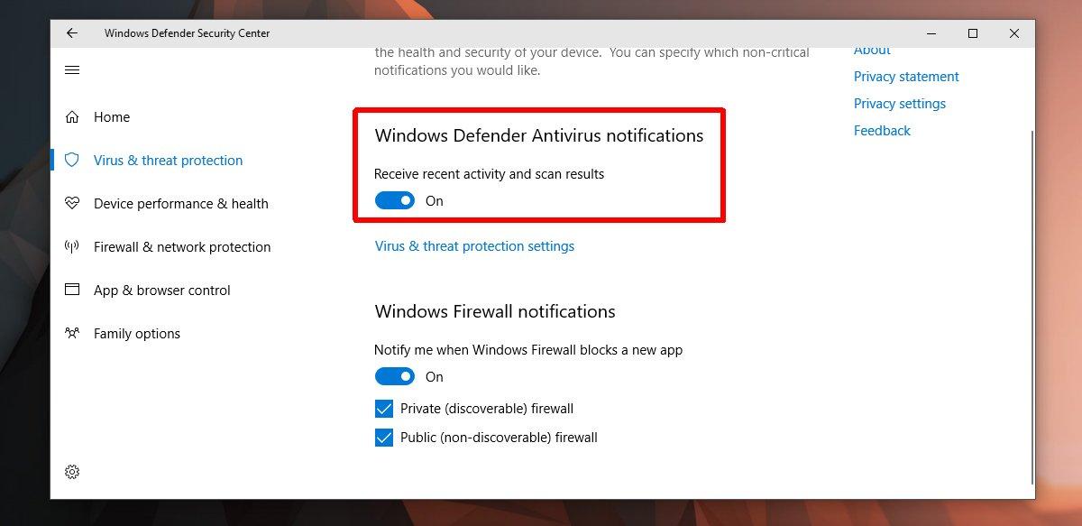 كيفية إغلاق إشعارات تطبيق Windows Defender في ويندوز Windows 10 2