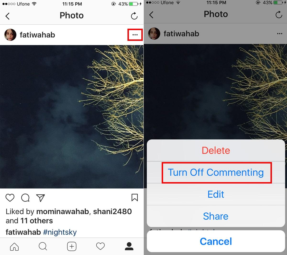 شرح طريقة منع التعليقات على الصور والفيديو في الإنستجرام Instagram 3