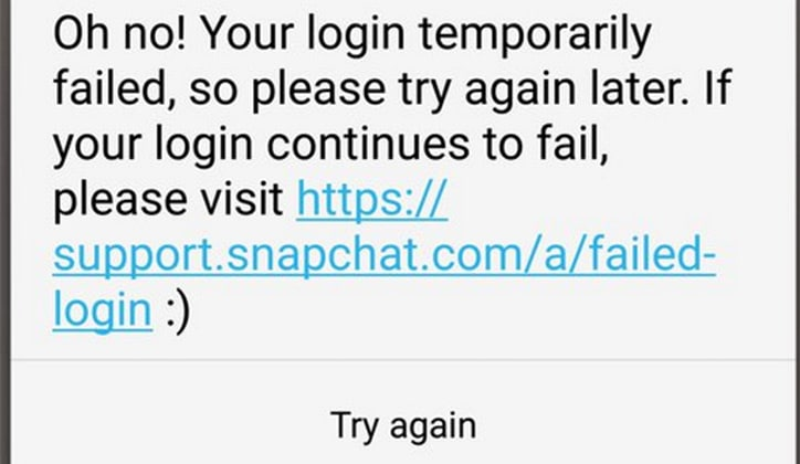 حل مشكلة فشل تسجيل الدخول وتعليق تطبيق السناب شات Snapchat 3