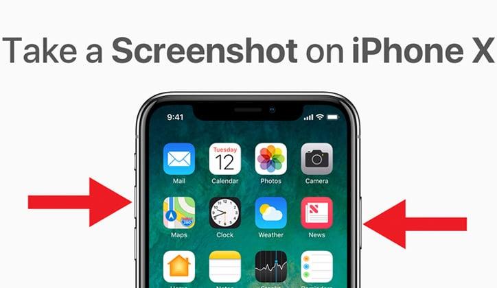كيفية إلتقاط صور سكرين شوت Screenshot في الأيفون 10 iPhone X 2