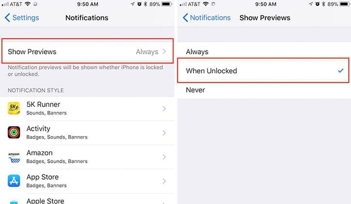 كيفية إخفاء محتوى الإشعارات على الشاشة في تحديث الأي أو إس iOS 11 2