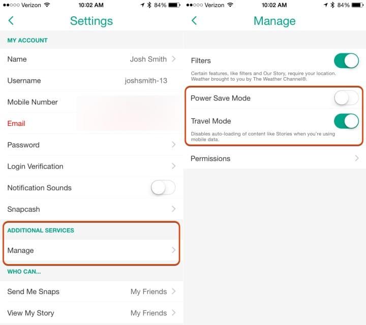 كيفية استهلاك Data أقل في تطبيق سناب شات Snapchat 3