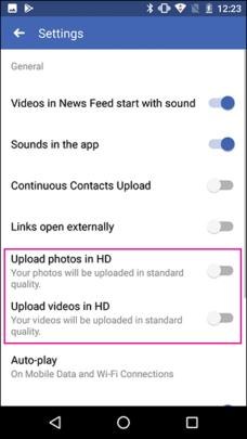 كيفية رفع الصور والفيديوهات بأعلى جودة على فيسبوك للأيفون والأندرويد 6