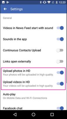 كيفية رفع الصور والفيديوهات بأعلى جودة على فيسبوك للأيفون والأندرويد 7