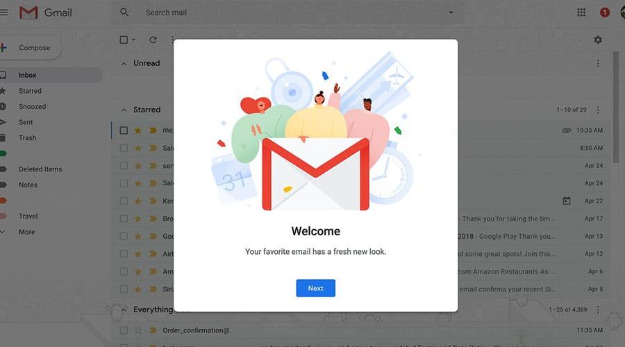 طريقة الحصول على التصميم الجديد لجوجل ميل 2018 وشرح المميزات الجديدة 1