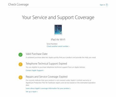 تحقق من توافر AppleCare على أجهزتك الخاصة 4